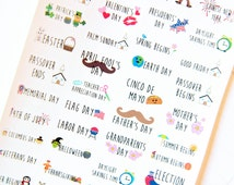 40 Holiday Celebration Stickers - Planner Stickers for Erin Condren Life Planners