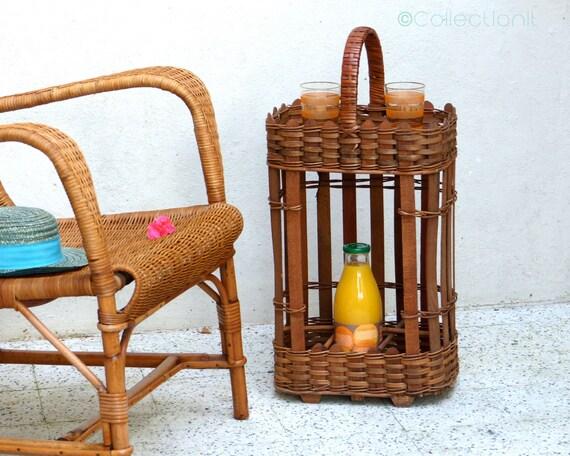 Portable bar vintage wicker basket
