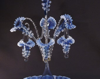 Opalescent Aquamarine Glass Epergne