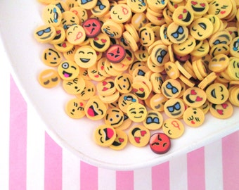 50 Assorted Emoji Clay Cabochon Slices, Smiley Face Cabs, #905