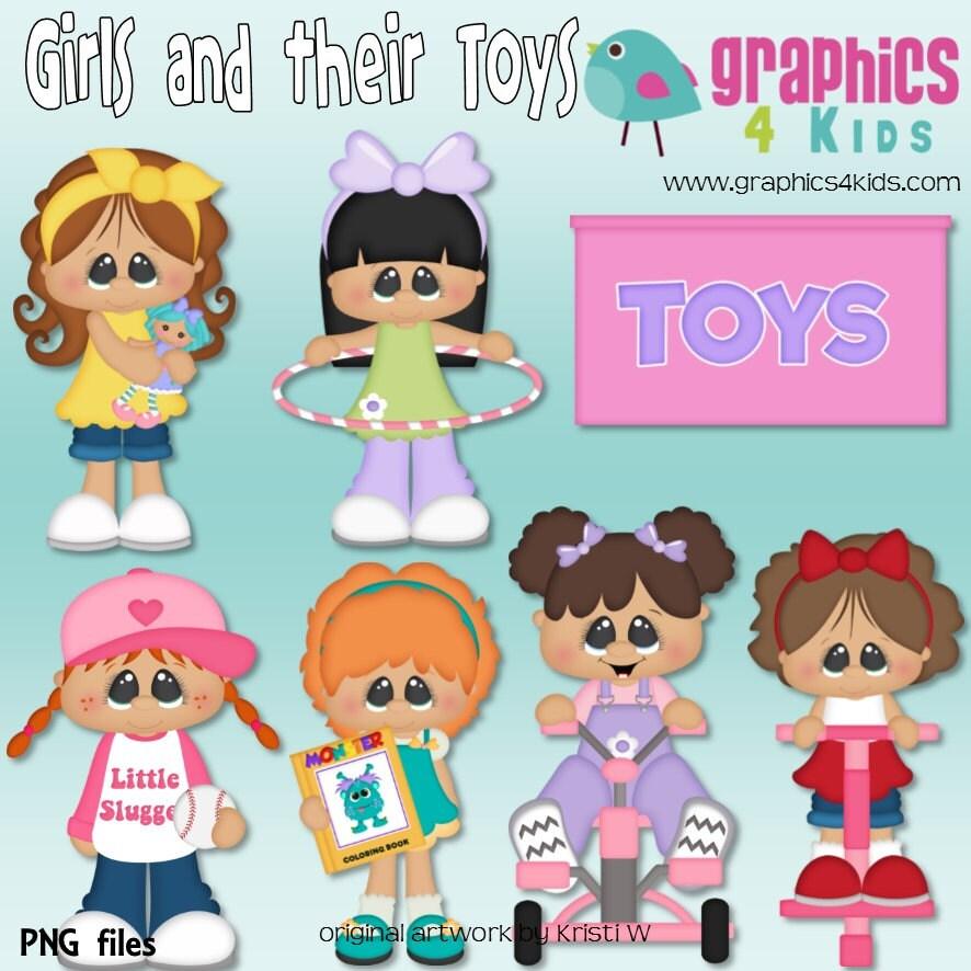 Girl Toys Clip Art : Girls and their toys digital clipart clip art for