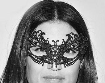 For Women Elegant Macrame Lace Mask with Diamonds Greek Goddess Black Lace Masquerade Mask - Venetian Masquerade Mask - Masquerade Ball