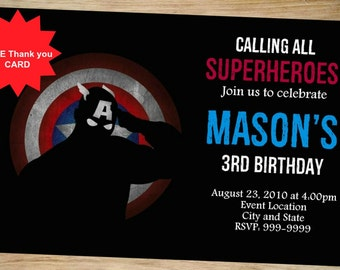Captain America Birthday Invitation - Captain America Invitation - Super Heroes Party Invitations - Birthday Invitation - Captain America