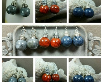 Stormy Ceramic Dangle Earrings/ wire wrapped
