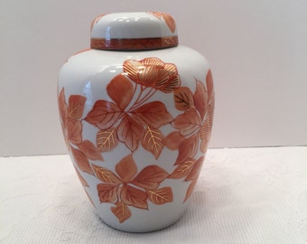 Japan Ginger Jar Vase ~ Top Included ~ Floral Design ~ Orange and White with Gold Detailing ~ Mantle Decor ~ Centerpiece ~ Vintage