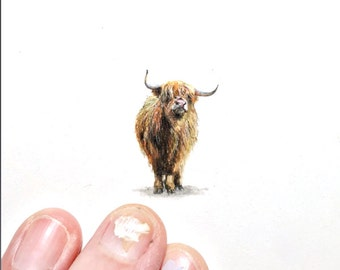 "Print of miniature painting of Highland Cow.  1 1/4"" x 1 1/4"" print of original Highland Cow painting on 5"" square german etching paper"
