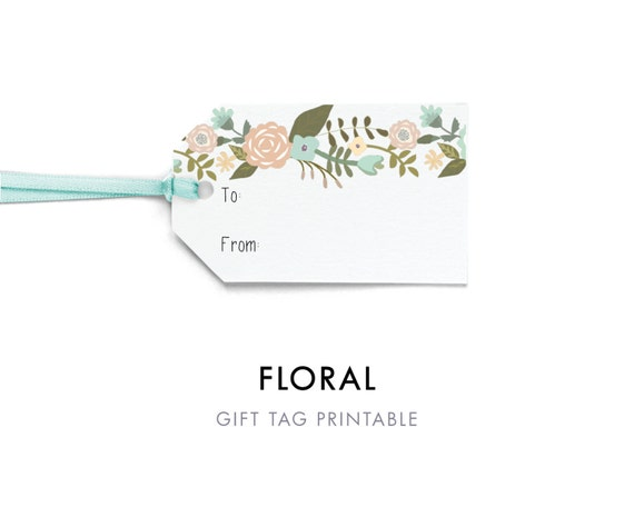 Editable Flower Gift Tag Template To and From Tag Printable