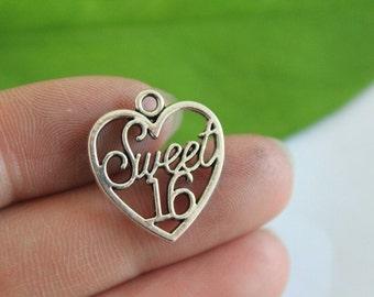 wholesale~ 10pcs  sweet 16 age charms antique silver tone sweet 16 age Pendant 21×19mm