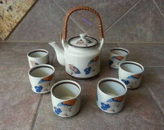 Vintage Japanese Satsuki  8 Piece  Sake Tea Set, Pot has a Bamboo Wrapped Handle, 6 Cups, Excellent Condition,