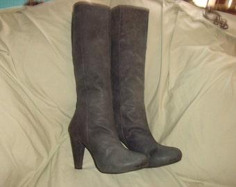 Gray Nubuck Leather Calvin Klein Knee Boots 11M