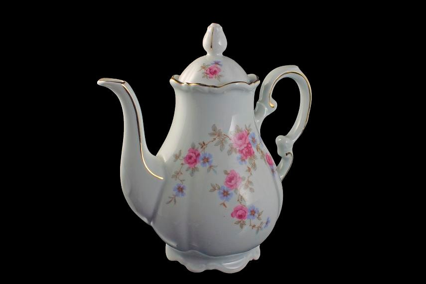 Teapot Mitterteich Bavaria Rosella Coffee Pot Fine China Footed Teapot Gold Trimmed