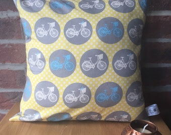 Summer bicycle cushion, bicycle, bright cushion, decorative cushion, yellow cushion