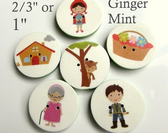 "Little Red Riding Hood buttons (2/3"" or 1"")"