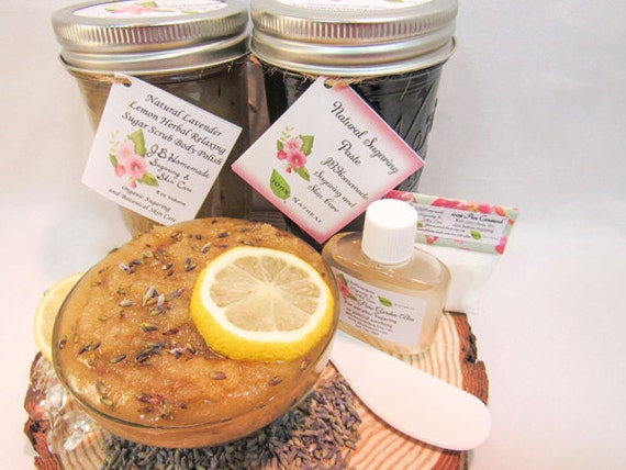 Sugaring Paste & Natural Herbal Lavender Sugar Scrub Bundle