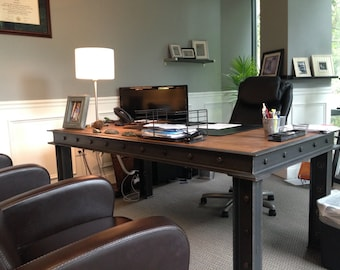 Executive Office Desk Modern Industrial Style By Ironageoffice