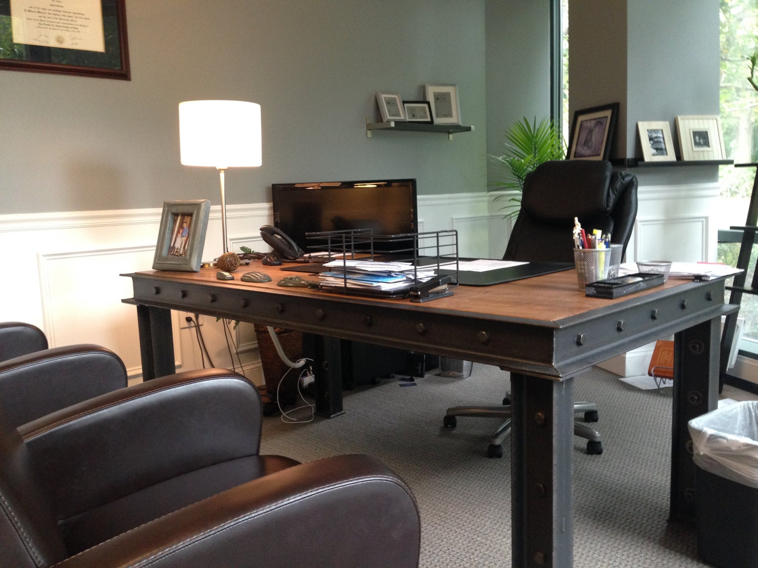 The harding executive office desk modern by ironageoffice - Industrial office desk ...