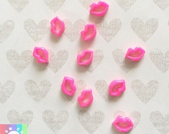 Tiny Lips Cabochons- 10pcs, 10mm Nail art Decoden