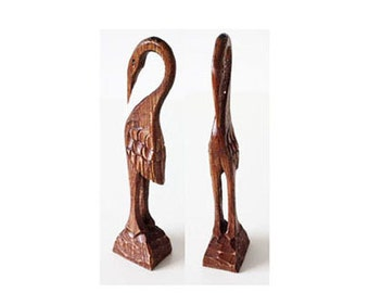 Vintage Hand Carved Wooden heron, Old figurine brown heron, 70s