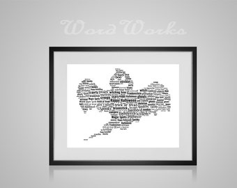 "Halloween Ghost Word Art Print  **Buy 3 prints get the 4th FREE**  Use coupon code "" MYFREEONE """