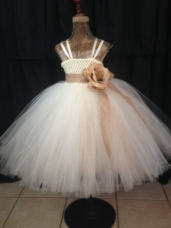 Rustic flower girl dress rustic tutu dress country wedding for Country wedding flower girl dresses