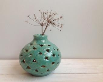 Ceramic vase, Handmade vase, wabi sabi vase, Ikebana, Dried  flowers vase , Turquoise , Made to order