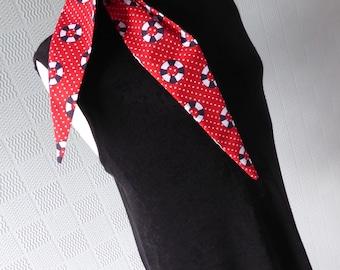 red and white polka dot hair scarf headband with nautical theme