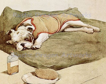 "Cecil Aldin  ""Dog Bulldog Not Feeling Well""  c1913 Reproduction Digital  Wall Hanging Animal  Print"