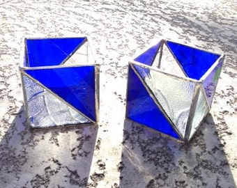 Stained Glass Candle Holder Blue Triangle
