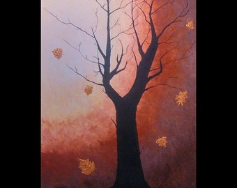 Large tree painting, Modern art, Tree, Leaves, Fall, Contemporary art, Textured painting