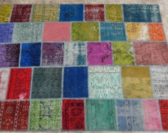 Patchwork Rug,65x85in. 164x216cm