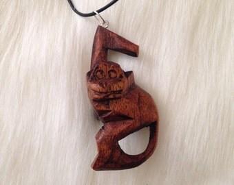 Vintage wood carved mens necklace
