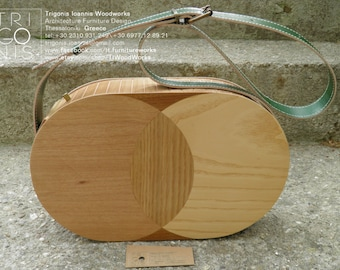 THE MARQUETRY SERIES_Wooden bag with a circular marquetrie motif
