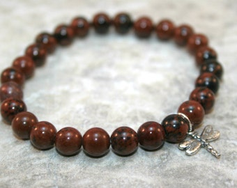 Mahogany obsidian stacking stretch bracelet with sterling silver dragonfly charm