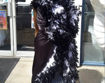 Vintage black and white feather robe plus size FREE SHIPPING  from RCMooreVintage