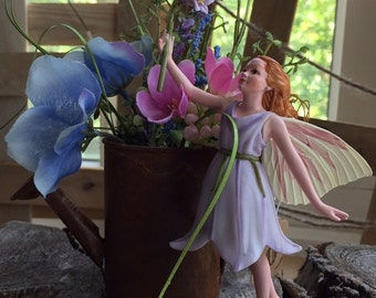 Fairy~ Harebell Fairy (Retired Fairy)  with Rusted Watering Can by Olive ~ Fairy Garden, Fairy, Fae, Faery