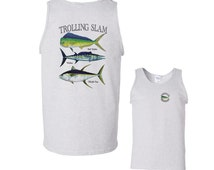Trolling Slam Bull Dolphin Wahoo Yellowfin Tuna Fishing Tank Top mens S M L XL 2X FREE SHIPPING in usa