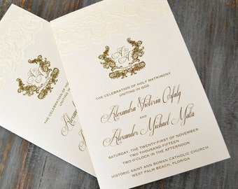 Lace Wedding Program - Ivory and Gold Wedding Program - Church Wedding Program - Folding Program - Custom Wording, Colors, and Fonts