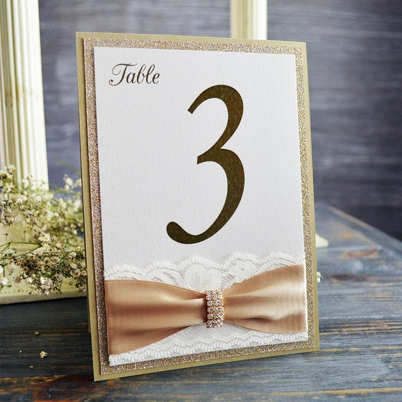 Gold Lace Table Number - Romantic Wedding Table Number - Lace Table Number - Couture Table Card (CURVED BUCKLE TABLE # W/ Glitter)