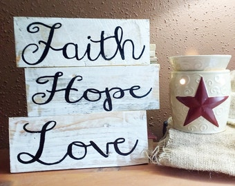 Rustic Christian sign, Love pallet signs, Hope pallet signs, Faith pallet signs, Christian pallet signs, pallet board set, inspirational art