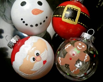 SALE: Choice of One Personalized Hand Painted Christmas Ornament in Santa, Snowman, Gingerbread Man
