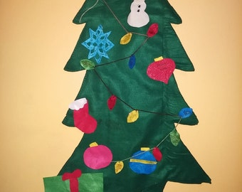 SALE Felt Christmas tree Decoratable kids puzzle. 3 feet tall ready to ship