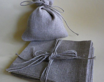 Natural linen bags - 10 pcs - rustic wedding favor - wedding favor bags, burlap linen gift bags - linen favor bag size 4 x 5 inch