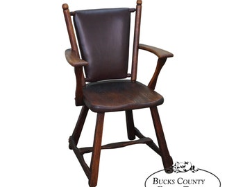 old hickory leather back antique arm chair