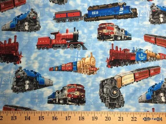 Train locomotive railroad fabric by the yard fat quarter half for Train fabric by the yard