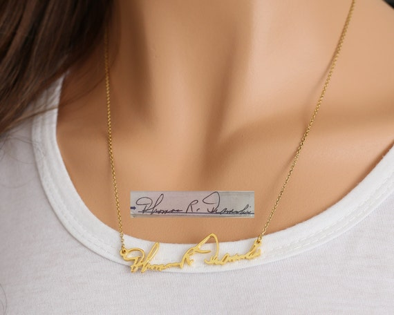 Gold Signature Necklace Cut Hand Written Name Necklace
