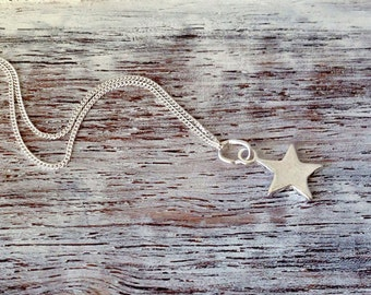 Silver Star Necklace~Silver Jewellery~Minimal Jewellery~Delicate Jewellery~Star on Chain~UK Jewellery~Eleanor Rose Jewellery~UK Shop