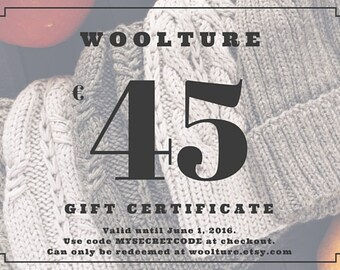 Digital Gift Certificate / 45 Euro Gift Card / Last Minute Gift / Mother's Day Gift
