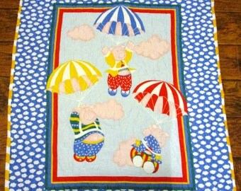 """Funny *When Pigs Fly* 35""""x44"""" Stippling Quilted Baby Crib Nursery Bedding Toddler Blanket Reversible Stippling Quilted Napping Blanket"""
