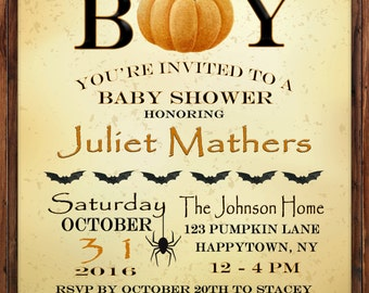 Baby Shower Invitation, Pumpkin Baby Shower, Halloween Baby Shower, Boy, Halloween Invite, Fall Invite, Fall Baby Shower, Personalized Fun
