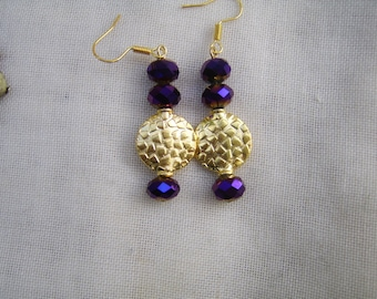 Deep Purple Glass And Gold Bead Drop Earrings. Purple earrings. Gold Earrings. Drop Earrings. Dangle earrings.Purple And Gold earrings.